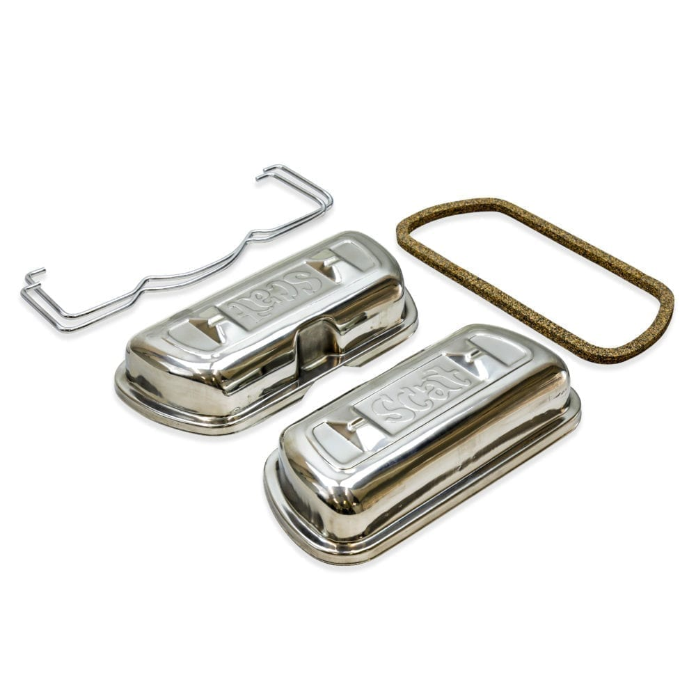 SCAT ORIGINAL LOGO STAINLESS STEEL VALVE COVERS