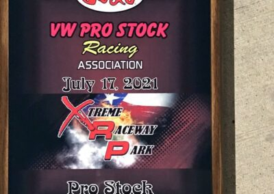 VW Pro Stock Race winner plaque